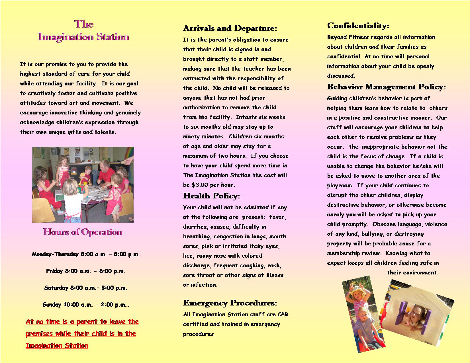 beyond fitness club paradise ca imagination station informational brochure
